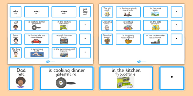 Everyday Sentence Building Cards EAL Romanian Translation - romanian, sentence, building, cards