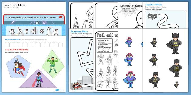 Superhero Themed Fine Motor Skills Pack - superheroes, skills