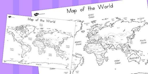 World Map Labelling Sheet - Country, Geography, Map, Labelling
