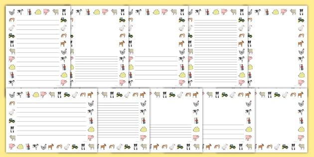 Farm Page Borders - Farm, Page border, border,  KS1, writing Borders, shop, farm, pig, cow, chicken, goat, tractor, farmer, chicken, goat, sheep, hay, milk, eggs
