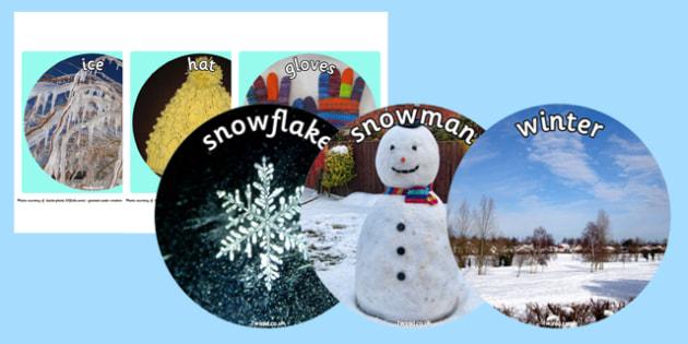 Winter Display Circle Photo Cut Outs - winter, display, circle, photo, cut outs