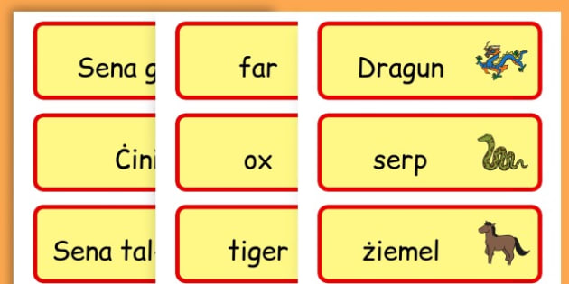 Chinese New Year Topic Word Cards - chinese new year, word cards - Maltese