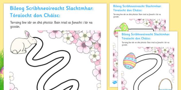 Bileog Scríbhneoireacht Slachtmhar: Tóraíocht don Cháisc - pencil control