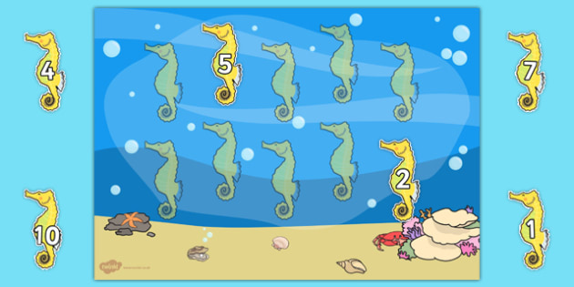Under the Sea Themed 1-10 Number Ordering Activity (Seahorses) - counting, number, sea, order