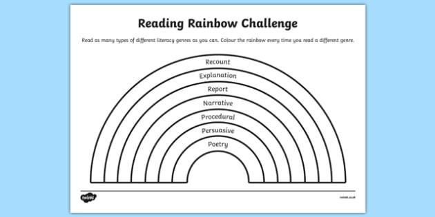 Reading Rainbow Challenge Activity Sheet, worksheet