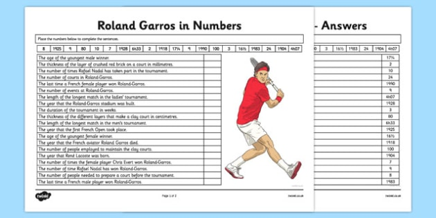 Roland-Garros in Numbers Activity Sheet - roland-garros, french opens, stadium, activity, number, worksheet