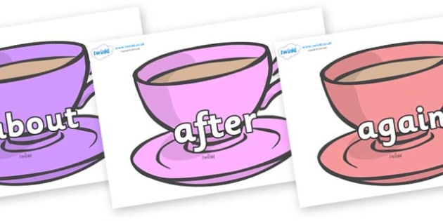 KS1 Keywords on Cups - KS1, CLL, Communication language and literacy, Display, Key words, high frequency words, foundation stage literacy, DfES Letters and Sounds, Letters and Sounds, spelling