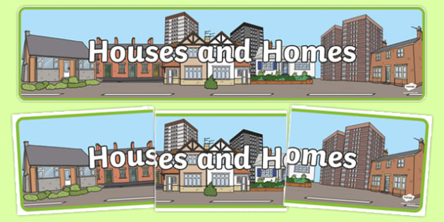 Houses and Homes Display Banner - house, home, building, display, banner, poster, brick, stone, detached, terraced, bathroom, kitchen, door, caravan, where we live, ourselves