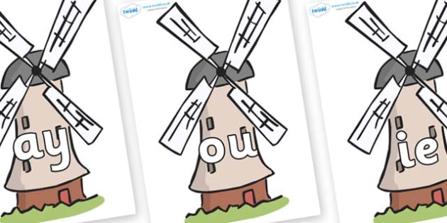 Phase 5 Phonemes on Windmills - Phonemes, phoneme, Phase 5, Phase five, Foundation, Literacy, Letters and Sounds, DfES, display