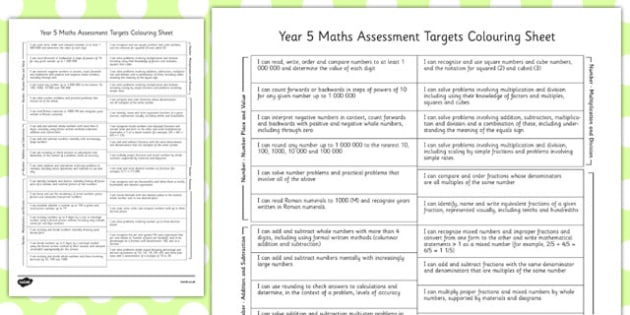 Year 5 Maths Assessment Targets Colouring Sheet - year 5, assessment