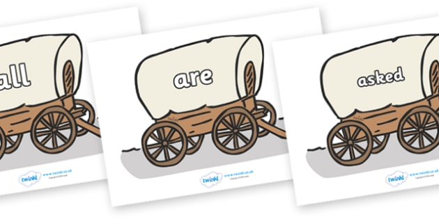 Tricky Words on Wagons - Tricky words, DfES Letters and Sounds, Letters and sounds, display, words