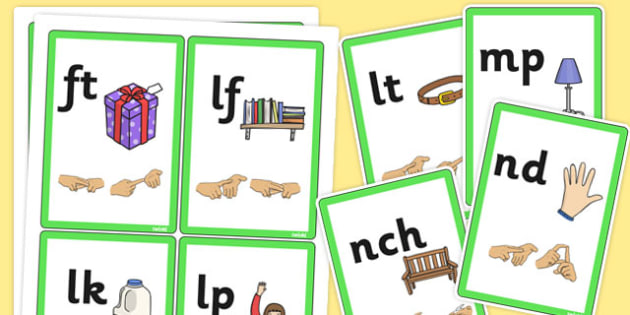 Phase 4 Final Sound Flash Cards with British Sign Language - sign