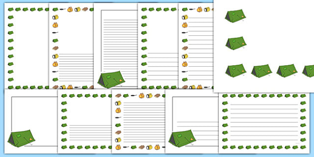 Camping Page Borders - camping, page borders, writing frames, camp, activity