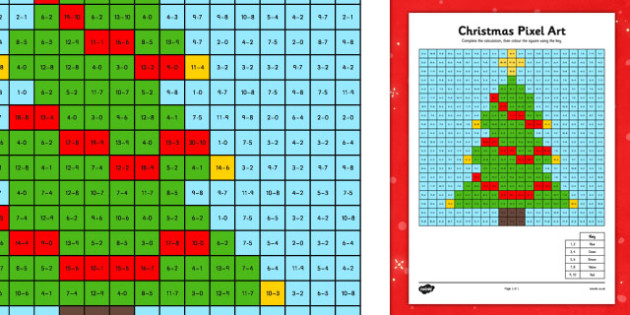 Christmas Pixel Art Colouring Pages - christmas, pixel art, colouring, pages