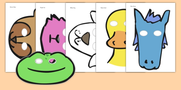 Story Role Play Masks to Support Teaching on Brown Bear, Brown Bear - Brown Bear, Brown Bear, Bill Martin,  red bird, yellow duck, blue horse, green frog, purple cat, colours, animals, animal names, story, story book, story book resources, story sequ