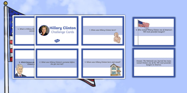 Hillary Clinton Biography Challenge Cards