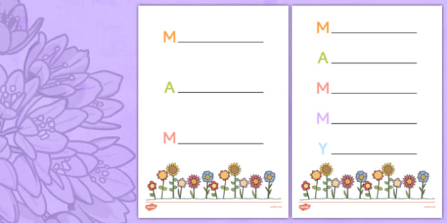 Mother's Day Acrostic Poem Sheets Flowers Irish - mams, mammy, celebration, Ireland