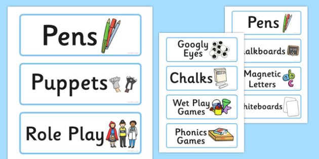 Blue Classroom Resource Labels - lables, signs, classroom labels