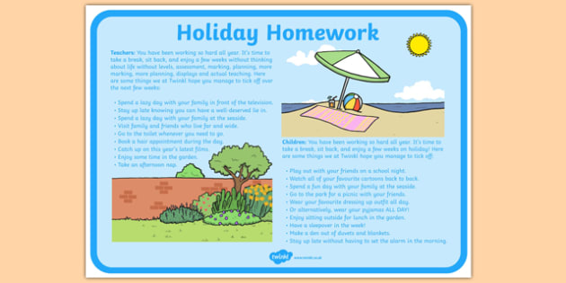 Holiday Checklist for Teachers and Children - holiday, checklist, teachers, children