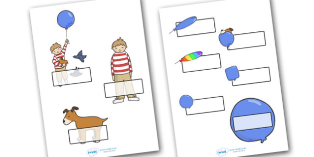 Editable Self Registration Labels to Support Teaching on The Blue Balloon - blue balloon, story, the blue balloon, Mick Inkpen, flying balloon, Self registration, register, editable, labels, registration, child name label, printable labels, soggy bal
