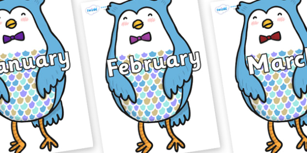 Months of the Year on Owl - Months of the Year, Months poster, Months display, display, poster, frieze, Months, month, January, February, March, April, May, June, July, August, September
