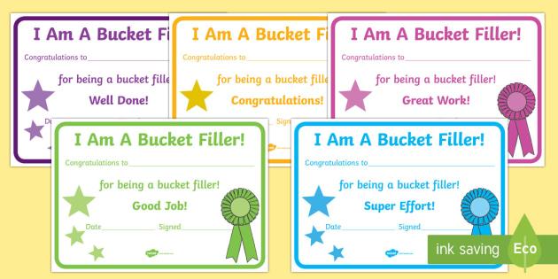 Have You Filled a Bucket Today Filler Certificates - have you filled a bucket today, filling buckets, Carol McCloud, basket filler, certificate, award, reward, achievement, happyness, children