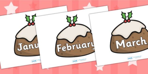 Months of the Year on Christmas Puddings - Christmas, xmas, cracker, Weeks poster, Months display, display, poster, frieze, Days of the week, tree, advent, nativity, santa, father christmas, Jesus, tree, stocking, present, activity, cracker, angel, s