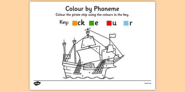 Colour by Phoneme Pirate Ship Phase 2 ck e u r - colour, phonemes, pirate ship, phase 2, satpin