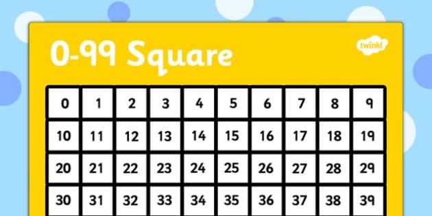 0-99 Number Square - number, square, 0-99, number square, numbers