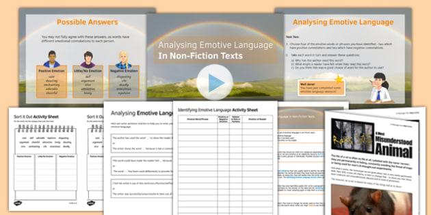 Identifying Emotive Language In Non-Fiction Texts Lesson Pack - emotive language, non-fiction