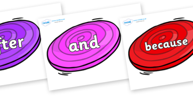 Connectives on Frisbees - Connectives, VCOP, connective resources, connectives display words, connective displays