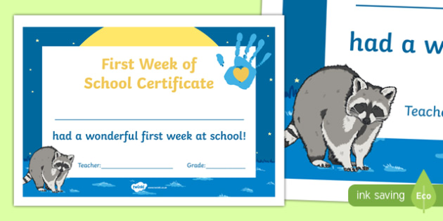 First Week of School Certificate