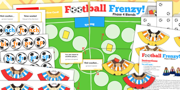 Blends and Clusters Football Board Game - blends, clusters, world cup, pe
