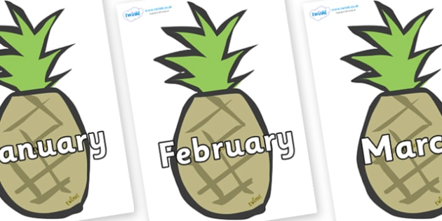 Months of the Year on Pineapples - Months of the Year, Months poster, Months display, display, poster, frieze, Months, month, January, February, March, April, May, June, July, August, September