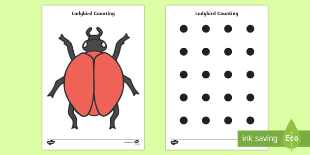 Ladybird Spot Counting Activity - ladybird, Maths, Math, spots, dots, counting, Counting on, Counting back, counting card, counting activity, one to one counting, flashcard, matching cards