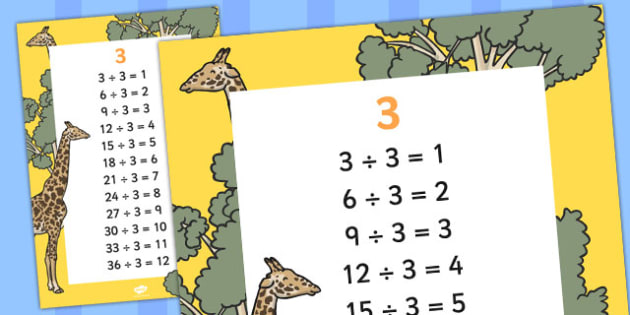 3 Times Table Division Facts Display poster - posters, displays