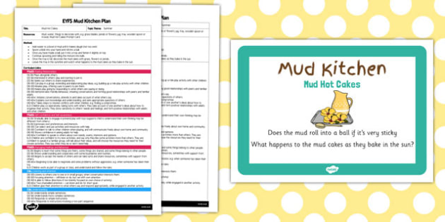 Mud Hot Cakes EYFS Mud Kitchen Plan and Prompt Card Pack - mud kitchen