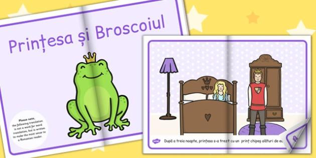 Printesa si Broscoiul, rezumat cu imagini, poveste ilustrata, Romanian