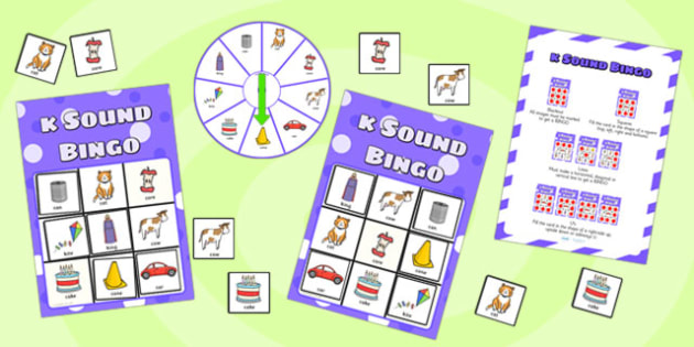 k Sound Bingo Game with Spinner - sounds, sound games, bingo