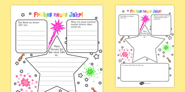 Frohes neues Jahr New Years Resolution Writing Frame German - german, writing frame, frame, writing, new year's resolution, new year, 2013, resolutions, resolutions writing frame, resolutions page borders, writing aid, writing template, template, lit