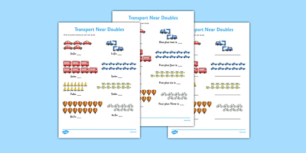 Near Doubles to 20 Transport Activity Sheet - near doubles, 20, transport, activity, sheet, worksheet