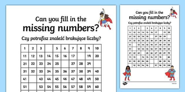Superhero-Themed Missing Numbers 100 Square Activity Sheet Polish Translation-Polish-translation, worksheet