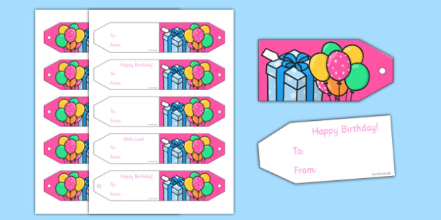 Birthday Gift Tags - Birthdays, gift tag, gift tags, birthdays,party invitation, invitations, party food, cake, balloons, happy birthday, birthday role play