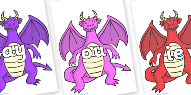 Phase 5 Phonemes on Dragons (2) - Phonemes, phoneme, Phase 5, Phase five, Foundation, Literacy, Letters and Sounds, DfES, display