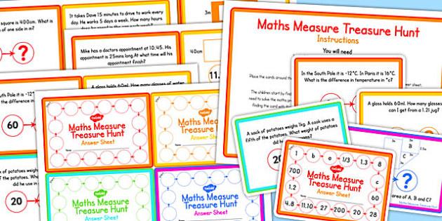 Maths Measure Treasure Hunt Challenge Cards - challenge, cards