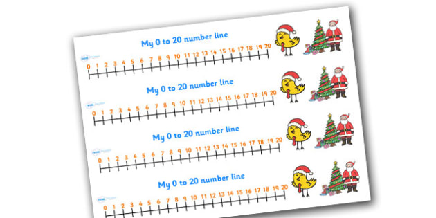 0-20 Christmas Number Line - 0-20, christmas, numberline, numeracy