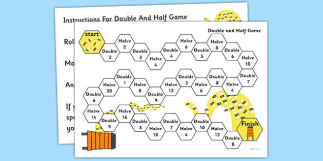 Doubling and Halving Board Game - double, half, numeracy, game