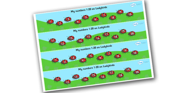 1-20 on Ladybirds Number Strips - Maths, Math, number track, ladybird, Numberline, Number line, Counting on, Counting back, counting, minibeasts, ladybird