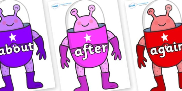 KS1 Keywords on Alien - KS1, CLL, Communication language and literacy, Display, Key words, high frequency words, foundation stage literacy, DfES Letters and Sounds, Letters and Sounds, spelling