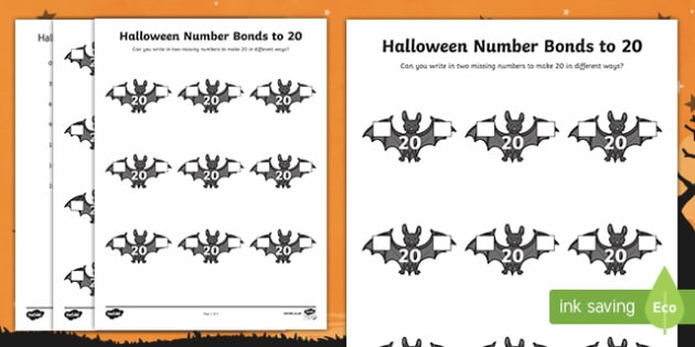 Halloween Themed Number Bonds to 20 Activity Sheet